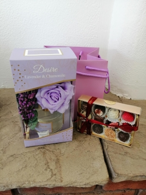 Lilac Floral Diffuser Set and Chocolates