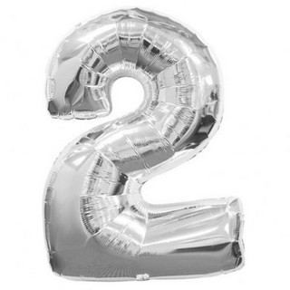 Number 2 Silver Supershape Balloon