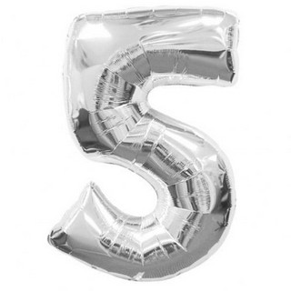Number 5 Silver Supershape Balloon