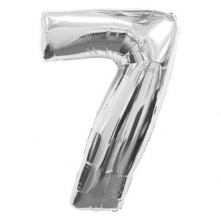 Number 7 Silver Supershape Balloon