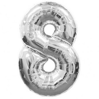 Number 8 Silver Supershape Balloon