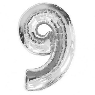 Number 9 Silver Supershape Balloon