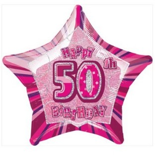 Happy 50th Pink Glitz Balloon