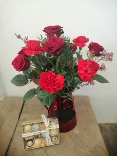 Rose and Carnation Jug with Chocolates