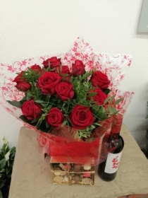 12 Red Rose Handtied with Chocolates and Wine