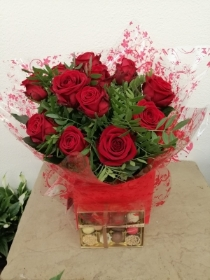 12 Red Rose Handtied with Chocolates