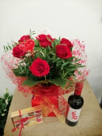 6 Red Rose Handtied, Chocolates and Wine
