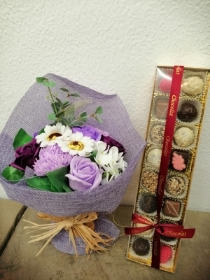 Lilac Soap flowers and Luxury 16 Chocolates