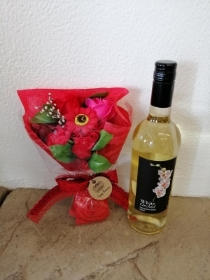 Red Soap Flower Bouquet and Wine