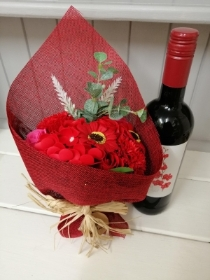 Red Soap Flowers and Wine
